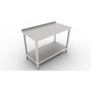 Nerezový pracovný stôl s lemom a spodnou policou 600