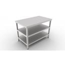 Nerezový pracovný stôl s 2 policami 600