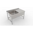 1200x600 | Nerezový pracovný stôl s drezom