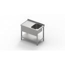 1600x800 | Nerezový pracovný stôl s drezom a policou