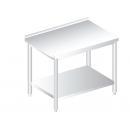 RM AP HF 600 - Nerezový pracovný stôl so spodnou policou a zadným lemom 600 mm