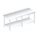 RM HAP HF 600 - Nerezový dlhý pracovný stôl so zadným lemom a policou 600 mm