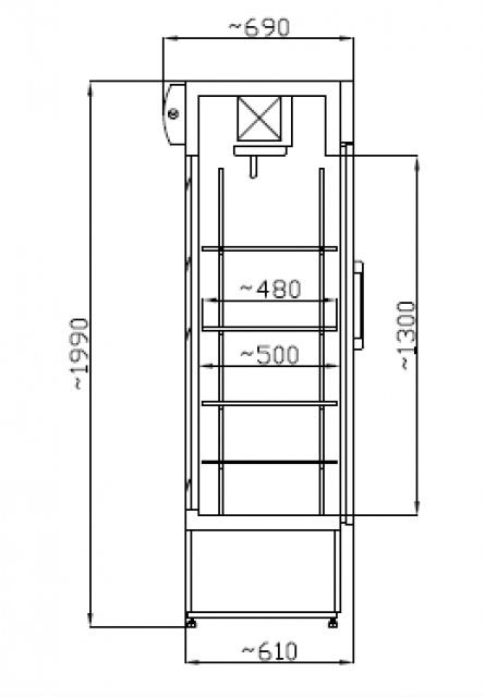 SCH 402 INOX Nerezová vitrína so sklenenými dverami